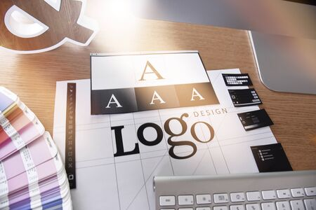 Logo design. Creative concept for website and mobile banner Foto de archivo - 147720806