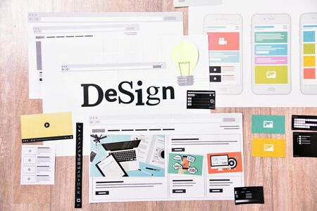 Graphic and web design. Creative concept for website and mobile banner