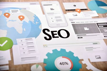 Search engine optimization. Creative concept for website and mobile banner, internet marketing, social media and networking, branding, marketing material, presentation template.