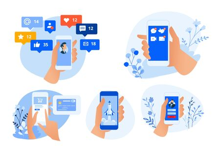 Flat design style illustrations of mobile apps and services, social network, m-commerce, communication. Vector concepts for website banner, marketing material, business presentation, online advertising. Vectores