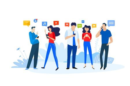 Flat design style illustration of social media, networking, internet community, communication. Vector concept for website banner, marketing material, business presentation, online advertising. Foto de archivo - 148192031