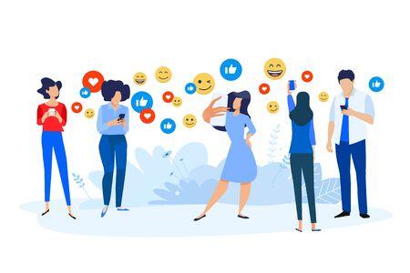 Flat design style illustration of social network, internet community, communication, smartphone services. Vector concept for website banner, marketing material, business presentation, online advertising.