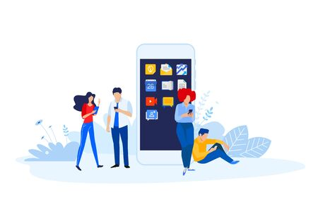 Flat design style illustration of smartphone apps and services. Vector concept for website banner, marketing material, business presentation, online advertising.