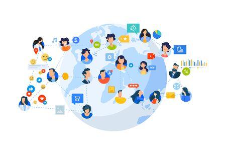 Flat design style illustration of social network, internet community. Vector concept for website banner, marketing material, business presentation, online advertising. Vectores