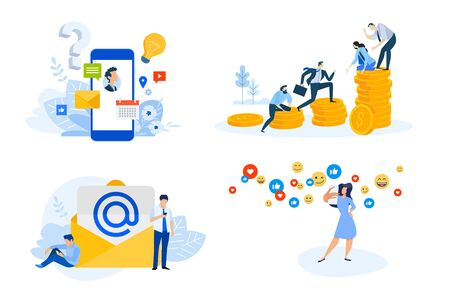 Flat design style illustrations of mobile services, email marketing, social media, finance and teamwork. Vector concepts for website banner, marketing material, business presentation, online advertising.