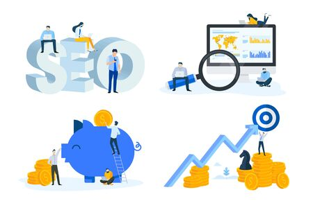 Flat design style illustrations of seo, market research, data analysis, finance, banking, strategy and savings. Vectores