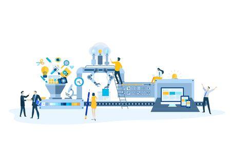 Flat design style illustrations of website design and development, responsive design. Vector concepts for website banner, marketing material, business presentation, online advertising.
