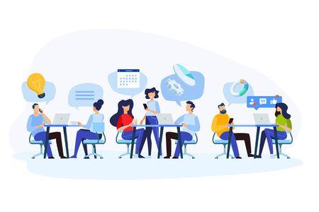 Flat design style illustration of teamwork, workflow, project management, customer relationship. Vector concept for website banner, marketing material, business presentation, online advertising.