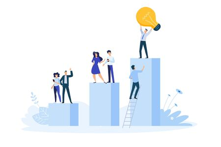 Flat design style illustration of big idea, startup, business success. Vector concept for website banner, marketing material, business presentation, online advertising.
