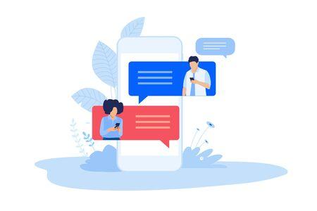 Flat design style illustration of online communication. Vector concept for website banner, marketing material, business presentation, online advertising.