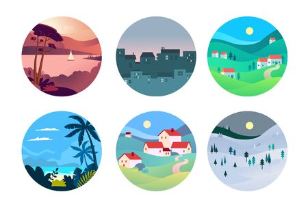 Flat design style illustration of travel and tourism. Vector concept for website banner, marketing material, business presentation, online advertising. Vectores