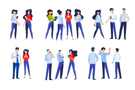 Flat design style illustrations of people in different poses, communicate and use a mobile phone. Vector concepts for website banner, marketing material, business presentation, online advertising.