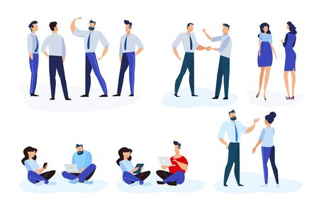 Flat design style illustrations of business situations and communication. Vector concepts for website banner, marketing material, business presentation, online advertising. Foto de archivo - 148305009