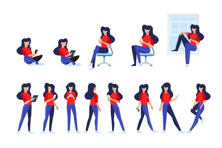 Flat design style illustrations of woman in different poses, use a mobile phone and tablet. Vector concepts for website banner, marketing material, business presentation, online advertising. Vectores
