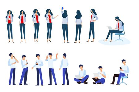 Flat design style illustrations of woman and man in different poses, use electronic devices. Vector concepts for website banner, marketing material, business presentation, online advertising. Vectores