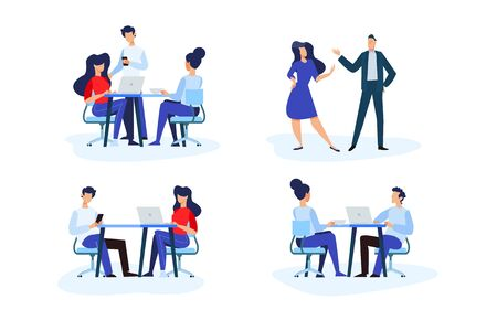 Flat design style illustrations of teamwork, office, meeting, business situation. Vector concepts for website banner, marketing material, business presentation, online advertising. Vectores
