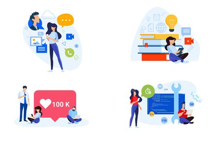 Flat design style illustrations of social media, networking, online education, website and app development. Vector concepts for website banner, marketing material, business presentation, online advertising.