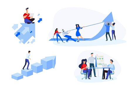 Flat design style illustrations of business success, teamwork, analysis and planning. Vector concepts for website banner, marketing material, business presentation, online advertising. Foto de archivo - 148238367