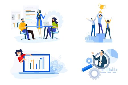 Flat design style illustrations of business presentation, market research and data analysis, success. Vector concepts for website banner, marketing material, business presentation, online advertising. Vectores