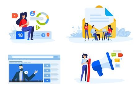 Flat design style illustrations of digital marketing, video and email marketing, social media. Vector concepts for website banner, marketing material, business presentation, online advertising. Vectores