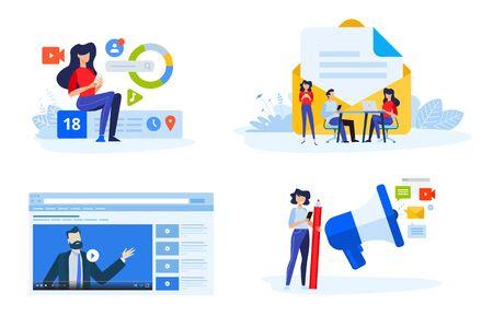 Flat design style illustrations of digital marketing, video and email marketing, social media. Vector concepts for website banner, marketing material, business presentation, online advertising. Foto de archivo - 148238494