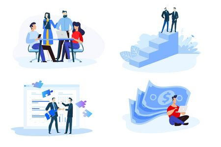 Flat design style illustrations of online earning, pay per click, consulting, partnership, our team.