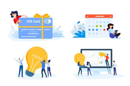 Flat design style illustrations of gift card, startup, big idea, project management, event. Vectores