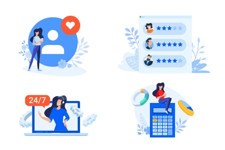 Flat design style illustrations of star rating, review, online support, calculation Vectores