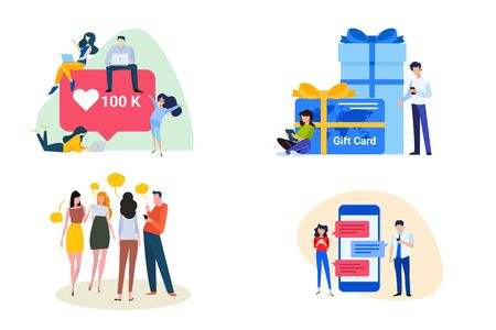 Flat design style illustrations of communication, social media, shopping and gift card. Vectores