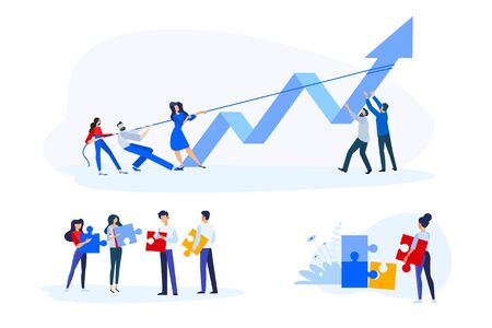 Flat design style illustrations of teamwork, business opportunities and solutions, success. Vector concepts for website banner, marketing material, business presentation, online advertising. Foto de archivo - 148277127
