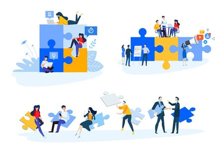 Flat design style illustrations of business strategy and planning, marketing, consulting. Vector concepts for website banner, marketing material, business presentation, online advertising.