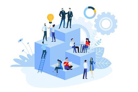 Flat design style illustrations of project management, business workflow, research and development. Vector concepts for website banner, marketing material, business presentation, online advertising. Vectores