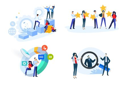 Flat design style illustrations of startup, business plan, star rating, market research, human resource, career. Vector concepts for website banner, marketing material, business presentation, online advertising.