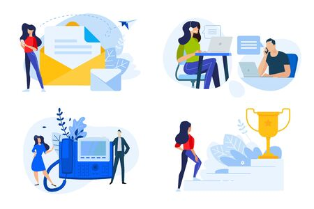 Flat design style illustrations of contact, communication, support, award, aim. Vector concepts for website banner, marketing material, business presentation, online advertising. Vectores
