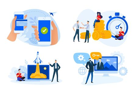 Flat design style illustrations of money transfer, e-banking, time is money, product and service launch, key account management. Foto de archivo - 148337111