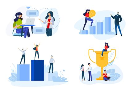 Flat design style illustrations of business success, online support. Vectores