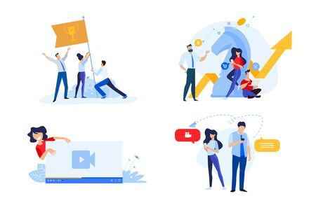 Flat design style illustrations of business strategy, teamwork, video streaming, online communication. Vector concepts for website banner, marketing material, business presentation, online advertising.