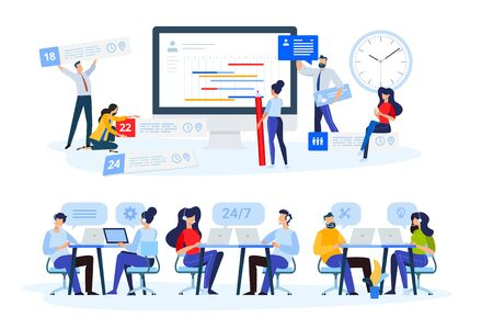 Flat design style illustrations of task management, online support, call center. Vector concepts for website banner, marketing material, business presentation, online advertising. Foto de archivo - 148329689
