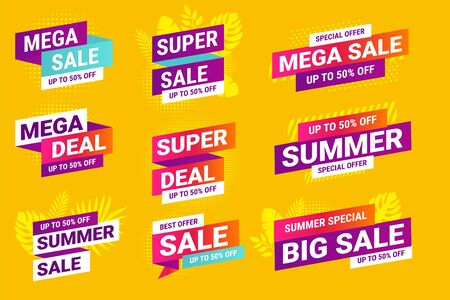 Summer sale. Vector illustrations for social media ads and banners, website badges, marketing material, labels and stickers for products promotions, graphic templates.