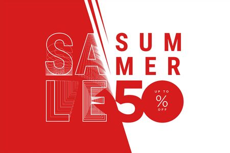 Summer sale banner in red and white Foto de archivo - 149429956