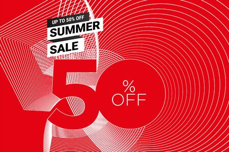 Summer sale banner in red and white Vectores