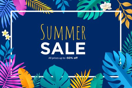 Summer sale banner with tropical leafs Foto de archivo - 149429961