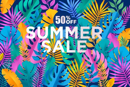 Summer sale banner with tropical leafs