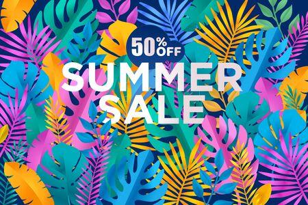 Summer sale banner with tropical leafs Foto de archivo - 149429959