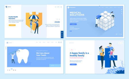 Set of web page design templates on medicine and health care. Vector illustrations for website design and development. Vectores
