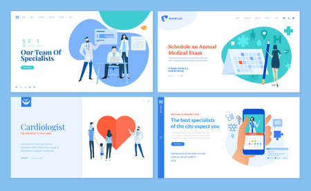 Set of web page design templates on medicine and health care. Vector illustrations for website design and development. 写真素材 - 150641937