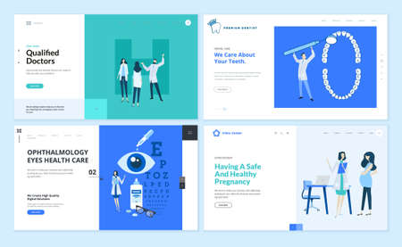 Set of web page design templates on medicine and health care. Vector illustrations for website design and development. Foto de archivo - 150641939
