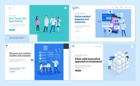 Set of web page design templates on medicine and health care. Vector illustrations for website design and development. 写真素材 - 150641936