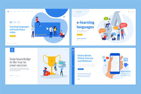 Web page design templates of distance education, e-learning, video tutorials, foreign language courses, e-book, online training and courses. Vector illustration concepts for website development. Vecteurs