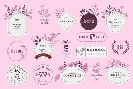 Set of signs for organic and natural cosmetics and beauty products . Vector illustrations for products promotion, packaging design, web design, business presentation, marketing material.